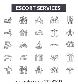 Escort services line icons for web and mobile design. Editable stroke signs. Escort services  outline concept illustrations