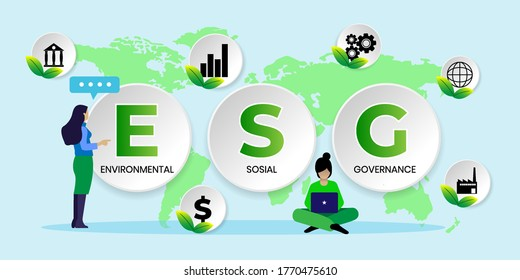 ESG concept of environmental, social and governance in sustainable and ethical business, vector illustration