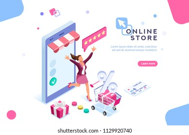 E-shop, shopping concept with characters. Commercial checkout pay, ecommerce retail on device for customer application. Discount for woman smart purchasing. Flat Isometric characters illustration.