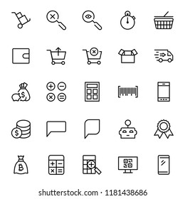 E-shopping flat icon set . Single high quality outline symbol of info for web design or mobile app. Thin line signs for design logo, visit card, etc. Outline logo of e-shopping