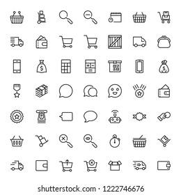 E-shopping flat icon set . Single high quality outline symbol of info for web design or mobile app. Thin line signs for design logo, visit card, etc. Outline logo of e-shopping