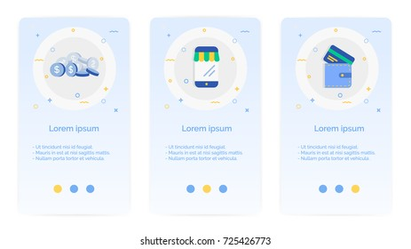 e-shopping set of Mobile Apps Onboarding Designs.Design Empty State Pages for Websites & Mobile Apps.coin, merchant, wallet.