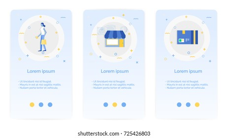 e-shopping set of Mobile Apps Onboarding Designs.Design Empty State Pages for Websites & Mobile Apps.a woman, market,merchant,shop, package.
