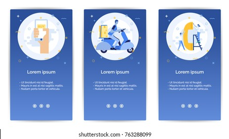 e-shopping set of Mobile Apps Onboarding Designs.Design Empty State Pages for Websites & Mobile Apps.hand with mobile, messenger man driving a motorcycle with box, A man and woman with a phone.