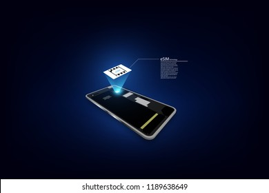 eSIM card chip sign. Embedded SIM concept. New mobile communication technology vector illustration