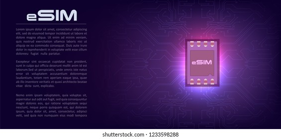eSIM card chip sign. Embedded SIM concept