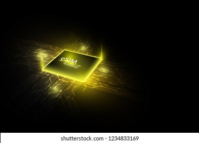 eSIM card chip sign. Embedded SIM concept. New mobile communication technology and  processor background circuit board vector illustration