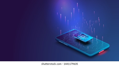 eSIM card chip sign. Embedded SIM concept. New mobile communication technology. Mobile global internet communications. Futuristic projection sim card. Vector illustration