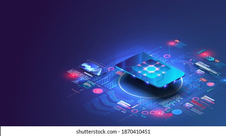 eSIM card chip sign. Embedded SIM concept. New mobile communication technology. Futuristic projection sim card. Invitation with sim for design.  Flat isometric vector illustration