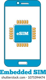 eSIM card chip sign on smartphone screen. Embedded SIM concept. New mobile communication technology vector illustration in flat style.