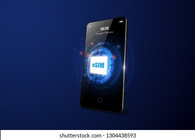 eSIM card chip sign. smartphon Embedded SIM concept. New mobile communication technology vector illustration