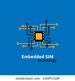 eSIM Embedded SIM card network icon symbol concept. new chip mobile cellular communication technology. vector illustration in flat style.