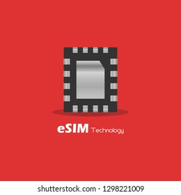 eSIM Embedded SIM card network icon symbol concept. new chip mobile cellular communication technology. vector illustration in flat style. Red background.