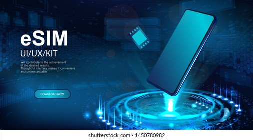 eSIM and Smartphone hologram. Presentation banner, Holographic projection with isometric smartphones. eSIM card chip sign. New mobile communication technology. Vector illustration banner sim card