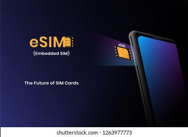 eSIM technology concept with smartphone. embedded sim the next gen of sim cards. vector