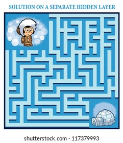Eskimo boy's Maze Game (help the lost eskimo boy find the right way home to his igloo - Maze puzzle with solution)