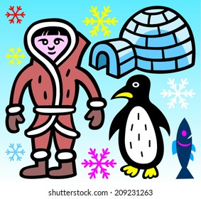 Eskimo, igloo, penguin, fish and snowflakes - vector illustration.