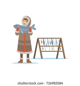 Eskimo, Inuit, Chukchi man character in traditional costume holding big fish, northern people, life in the far north vector Illustration