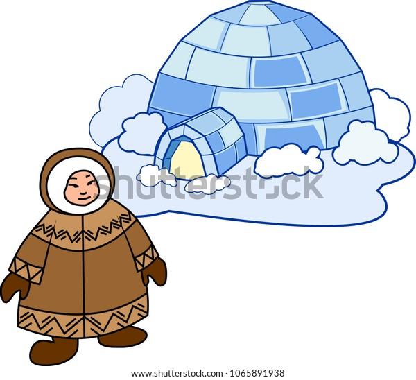 Eskimo National Clothes Igloo Stock Vector (Royalty Free