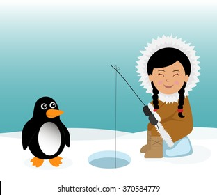 Eskimo and penguin fishing for fish. Concept background trip to Greenland