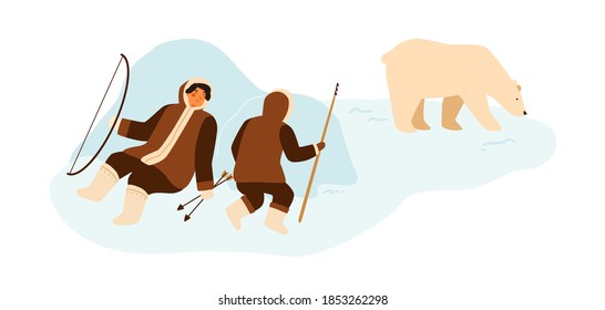 Eskimo people hunting wild polar bear with lance and bow. Inuit hunters in national winter costumes hiding behind snowdrifts. Flat vector cartoon illustration isolated on white background