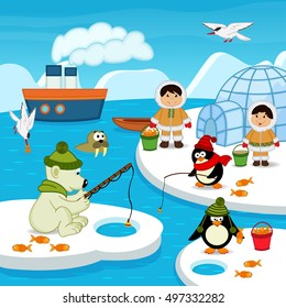 Eskimos and animals catch fish - vector illustration, eps
