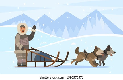 Eskimos on sledges with husky dogs traveling through empty forests and woods covered with snow. Arctic person wearing warm clothes. Landscape with mountains and trees nature, vector in flat style
