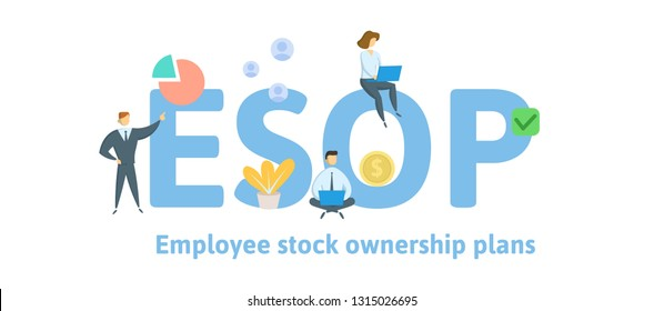 ESOP, Employee Stock Ownership Plan. Concept with keywords, letters and icons. Colored flat vector illustration. Isolated on white background.