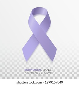 Esophageal Cancer Awareness Month. Periwinkle Color Ribbon Isolated On Transparent Background. Vector Design Template For Poster.