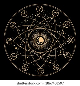 esoteric composition of geometric shapes and signs of the zodiac