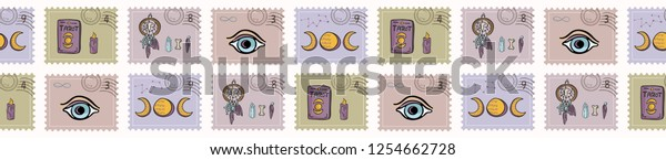 Esoteric Magic Postage Stamps Hand Drawn Stock Vector