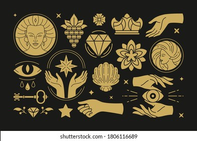 Esoteric magic and witch vector design elements set with female hands gestures. Hand drawn silhouettes, spiritual stickers collection. Witchcraft symbols for greeting cards, sacred logo or poster