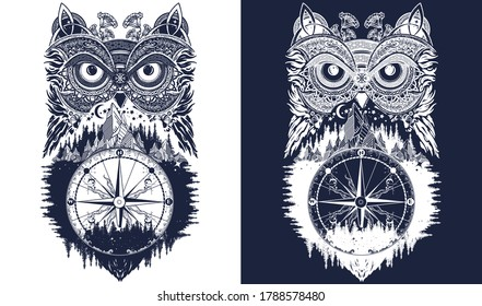 Esoteric owl and compass tattoo art. Symbol of wisdom, meditation, thinking, tourism, adventure. T-shirt design. Black and white vector graphics