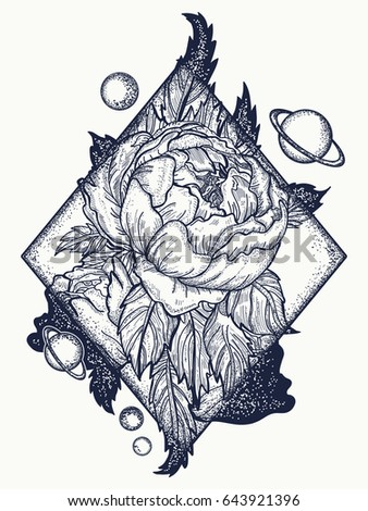 esoteric rose tattoo art tshirt design のベクター画像素材