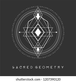 Esoteric sacred geomety vector on black background
