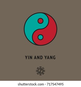 Esoteric sign of Yin and yang, symbol of unity of two energies, male and female. Metaphysic logo +different icon. Qigong card, tai Chi cover. Philosophical illustration, wallpaper, symbolic poster.