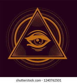 Esoteric symbol ith all seeing eye. Eye of providence. Print for t shirt and tattoo art. Boho chic.