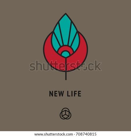 Esoteric Symbol New Life Sun Leaf Vector De Stock Libre De