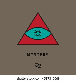 Esoteric symbol of pyramid with eye and sun star inside. Metaphysic mysterious Logo. Philosophical illustration. Illuminati card, freemasonry cover. Tantric wallpaper. Symbolic poster. Religious art