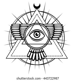 Esoteric symbol: winged pyramid, knowledge eye, sacred geometry. The monochrome drawing isolated on a white background. Vector illustration. Print, posters, t-shirt, textiles.