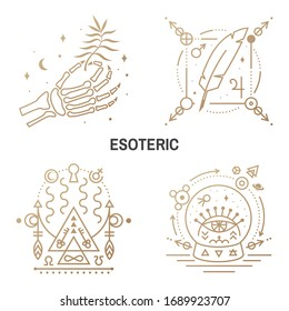 Esoteric symbols. Vector illustration. Thin line geometric badge. Outline icon for alchemy or sacred geometry. Mystic and magic design with feather, stars, planets, moon, glass ball and all-seeing eye