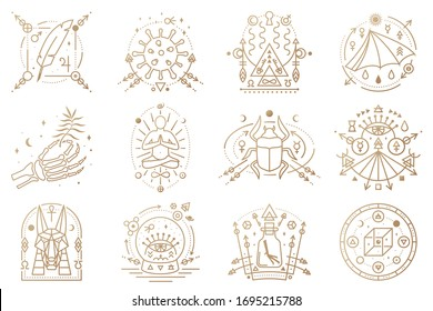 Esoteric symbols. Vector. Outline icon for alchemy, sacred geometry. Mystic, magic design with man in yoga lotus pose, bat wing, chemistry flask, skull, gate, scarab beetle, egyptian god Anubis