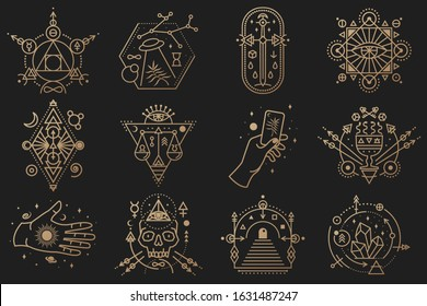 Esoteric symbols. Vector. Thin line geometric badge. Outline icon for alchemy or sacred geometry. Mystic and magic design with crystals, sun, ufo flying, stars, skull, gate to another world and moon.