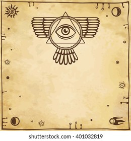 Esoteric winged sign of a pyramid. Background - imitation of old paper. Space symbols. Vector illustration.
