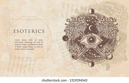 Esoterics. All seeing eye and crossed keys. Renaissance background. Medieval manuscript, engraving art