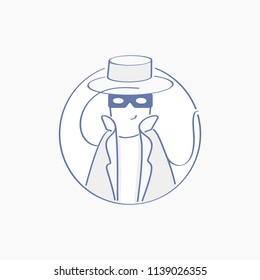 Espionage profile, Anonymous with mask, Shadowing, Spy, Agent, Inspector, Investigator, Detective character in cute hat, sleuthing, disguising, investigate.