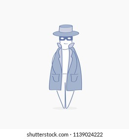 Espionage, Shadowing. Spy, Agent, Inspector, Investigator, Detective character in cute hat with binoculars and magnifying glass, sleuthing, disguising, investigate. Flat outline vector illustration