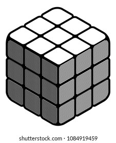 Espoo, Finland, May 11 2018. Editorial vector illustration rubik`s cube Black and white linear illustration Simple geometrical design