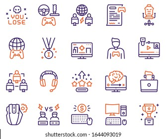 Esport color linear vector icons set. Cybersport competition concept. Cup, strategy, team, headset, gamers, stream, arena, medal, worldwide, computer. Gaming and fun. Game championship