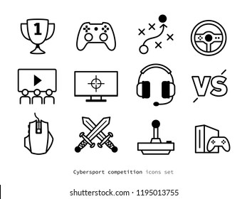 eSport competition icons set. Linear design PC gaming pictograms collection